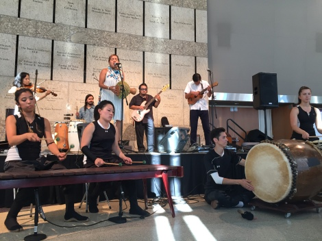 Quetzal and TAIKOPROJECT playing together at the preview performance I caught at JANM!