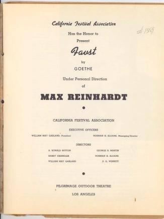 1938 Faust Souvenir Program Ford Theatres Collection-2