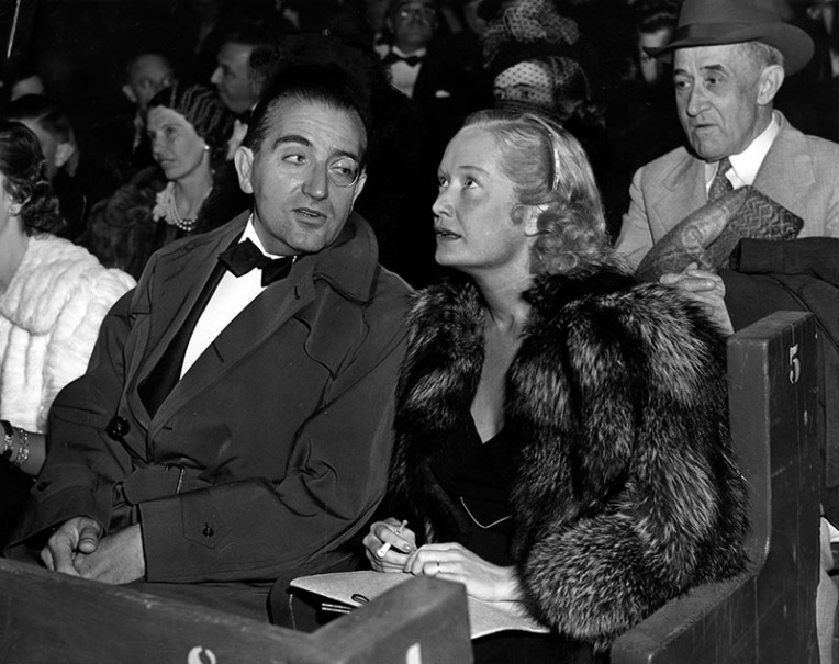 1938.Fritz Lang with Miriam Hopkins at outdoor premiere.Herald Examiner collection
